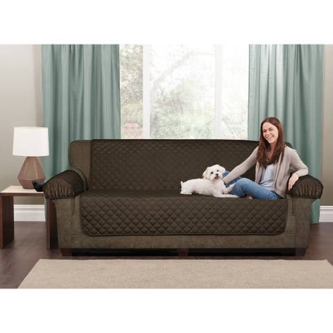"""Maytex 3 Piece Waterproof Quilted Suede Loveseat Furniture Cover Protector - 45x69"""" without arms"""