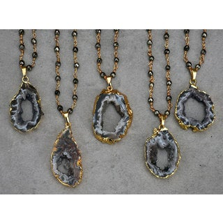 Black Botswana Agate Geode Pendant Necklace with Hematite Rosary Chain