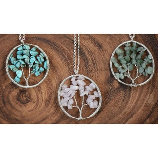 Mint Jules Natural Stone 'Tree of Life' Pendant Sterling Silver Necklace