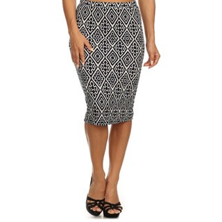 MOA Collection Women's Pencil Skirt with Geometric Print