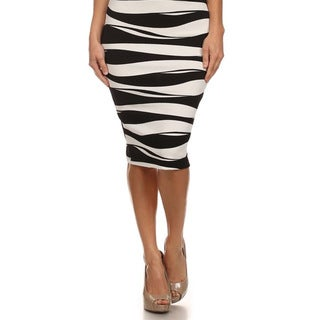 MOA Collection Women's Black and White Striped Pencil Skirt