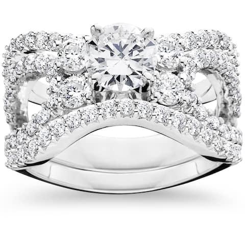 14k White Gold 4ct TDW Diamond Engagement Matching Wedding 3-piece Ring Set