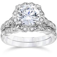 14k White Gold 2ct TDW Diamond Clarity Enhanced Halo Engagement Wedding 2-piece Ring Set