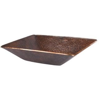 Premier Copper Products Modern Rectangle Hand Forged Old World Copper Vessel Sink in Oil Rubbed Bronze