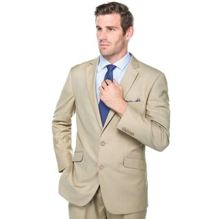 Verno Crespo Men's Tan Slim Fit Italian Styled Two Piece Suit