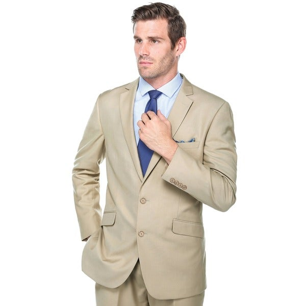 Verno Crespo Men's Tan Slim Fit Italian Styled Two Piece Suit ...