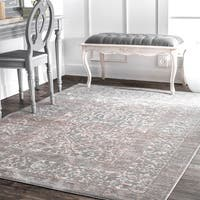 nuLOOM Traditional Vintage Persian Border Grey Rug (9' x 12') - 9' x 12'