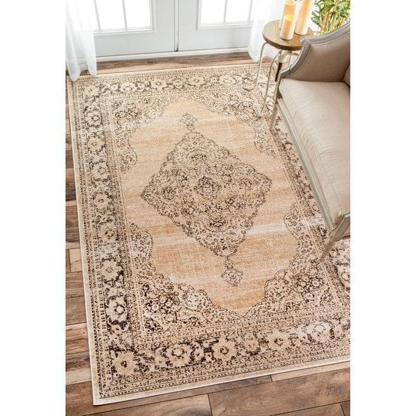 Area Rug Persian 9x12 Oriental Carpet Ivory Wool: NuLOOM Oriental Vintage Viscose Persian Ivory Area Rug (5