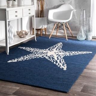 nuLOOM Blue Handmade Indoor/ Outdoor Contemporary Coastal Starfish Area Rug - 3' x 5'