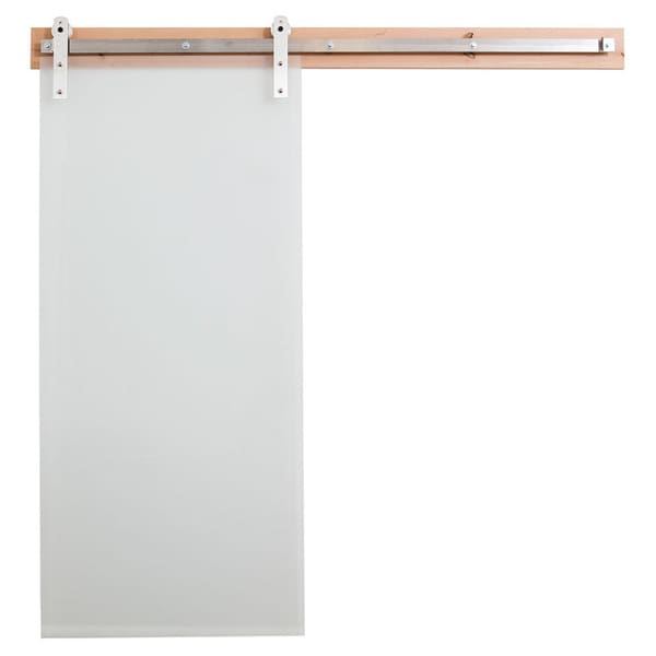 rustica hardware frosted glass barn door and flat track hardware - Frosted Glass Barn Door