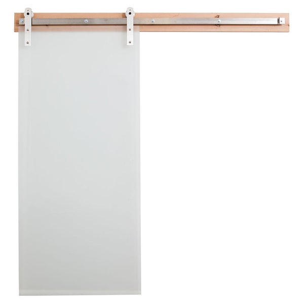 Rustica Hardware Frosted Glass Barn Door And Flat Track Hardware