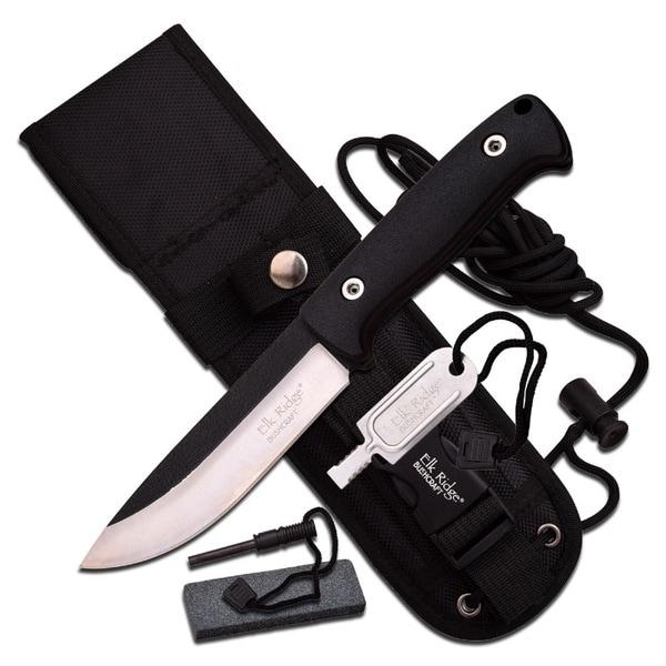 Elk Ridge 10.5-inch Satin Blade with Black Cord Wrap Handle -Sheath