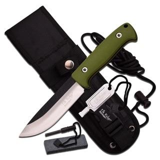 Elk Ridge 10.5-inch Satin Blade with Green Cord Wrap Handle -Sheath