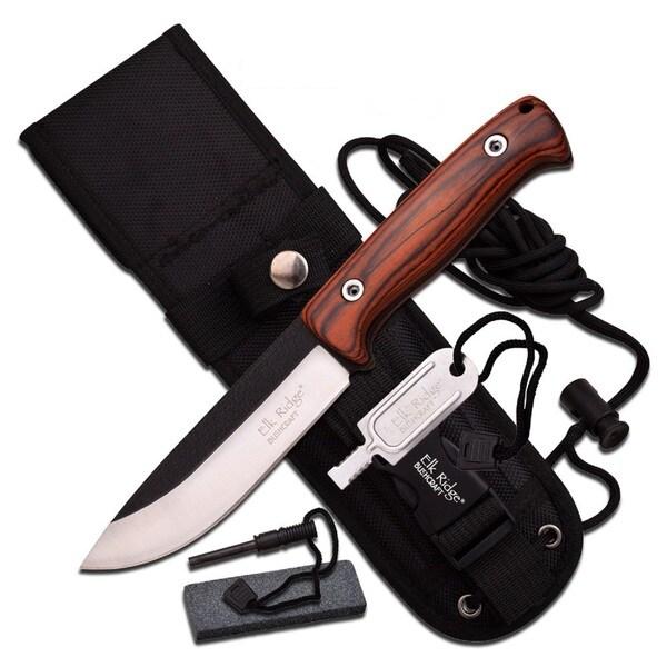 Elk Ridge 10.5-inch Satin Blade with Brown Pakkawood Handle -Sheath