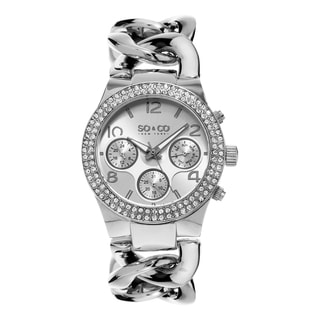 SO&CO New York Women's SoHo Quartz Stainless Steel Link Crystal Bracelet Watch