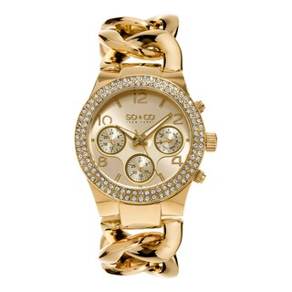 SO&CO New York Women's SoHo Quartz Gold Tone Link Crystal Bracelet Watch