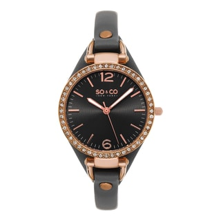 SO&CO New York Women's SoHo Quartz Gray Leather Strap Crystal Watch