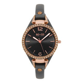 SO&CO New York Women's SoHo Quartz Gray Leather Strap Crystal Watch|https://ak1.ostkcdn.com/images/products/10696387/P17757952.jpg?impolicy=medium