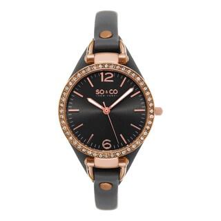 SO&CO New York Women's SoHo Quartz Gray Leather Strap Crystal Watch