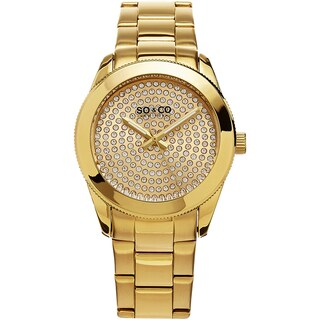 SO&CO New York Women's Madison Quartz Gold Tone Link Crystal Bracelet Watch