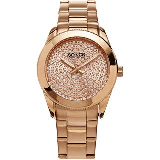 SO&CO New York Women's Madison Quartz Rose Tone Link Crystal Bracelet Watch