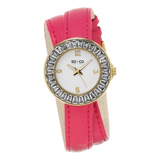 SO&CO New York Women's SoHo Quartz Pink Double Wrap Strap Crystal Watch