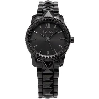 SO&CO New York Women's Madison Quartz Black Crystal Bracelet Watch