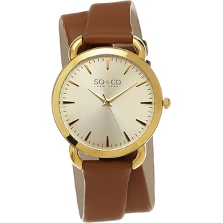 SO&CO New York Women's SoHo Quartz Brown Double Wrap Strap Watch