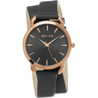 SO&CO New York Women's SoHo Quartz Gray Double Wrap Strap Watch