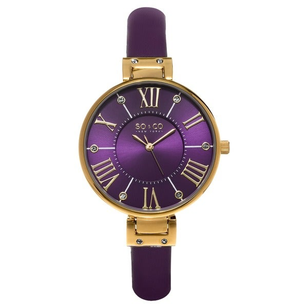 Shop so co new york women 39 s soho quartz purple strap crystal watch free shipping today for Violet leather strap watch