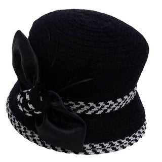 Swan Women's Black/ White Boucle Chenille Ribbon Hat