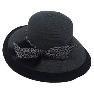 Swan Women's Wide Brim Grey Chenille Ribbon Hat