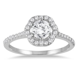 Marquee Jewels 14K White Gold 1 Carat TW Halo Diamond Engagement Ring