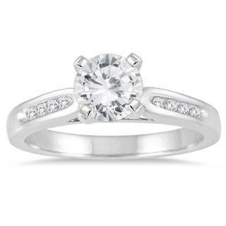 Marquee Jewels 14k White Gold 1 1/10ct TDW Channel-set Diamond Engagement Ring (I-J, I2-I3)