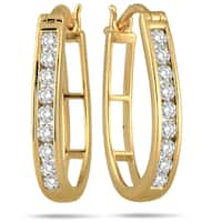 Marquee Jewels 10k Yellow Gold 1/2ct TDW Diamond Hoop Earrings