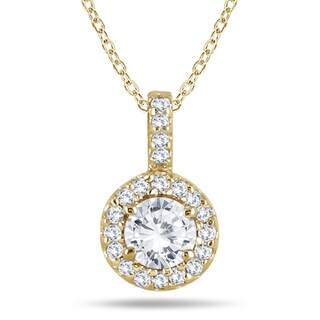Marquee Jewels 10K Yellow Gold 1/2 Carat Halo Diamond Pendant (I-J, I2-I3)