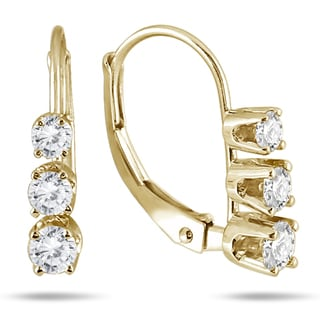 Marquee Jewels 10k Yellow Gold 1/2ct TDW Diamond 3-stone Drop Earrings (I-J, I2-I3)