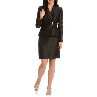 Tahari Arthur S. Levine Women's Decorative Metal and Rhinestone Closure 2-Piece Skirt Suit