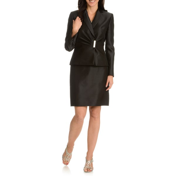 Tahari Arthur S. Levine Women's Decorative Metal and Rhinestone Closure 2-Piece Skirt Suit