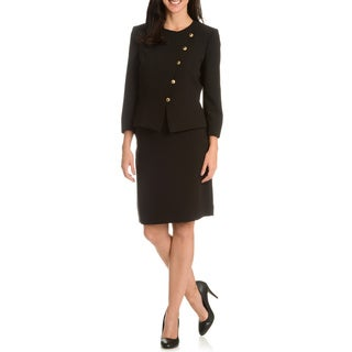 Tahari Arthur S. Levine Women's Black Collarless 2-Piece Skirt Suit