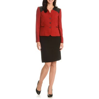 Tahari Arthur S. Levine Women's Inverted Notch Collar Skirt Suit