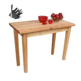 John Boos 30x24 C02C-D-TLR Country Maple Table with Towel Rack and Henckels 13-piece Knife Block Set