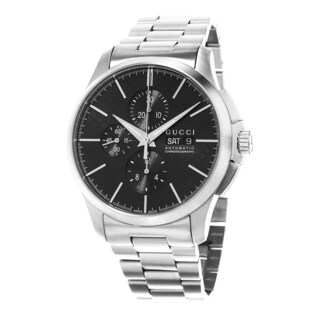 Gucci Men's YA126264 'Timeless' Black Dial Stainless Steel Chronograph Swiss Automatic Watch