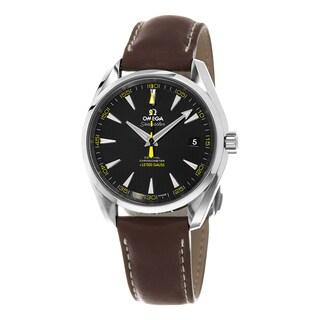 Omega Men's 231.12.42.21.01.001 'Seamaster150' Black Dial Brown Leather Strap Chronograph Swiss Auto