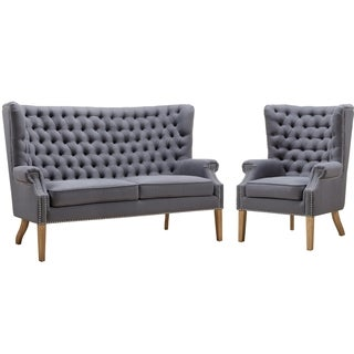 Abe Grey Linen Living Room Set