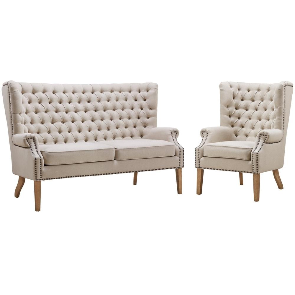 TOV Furniture Abe Beige Linen 2-piece Living Room Set