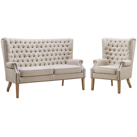 Abe Beige Linen 2-piece Living Room Set