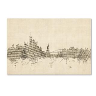 Michael Tompsett 'New York Skyline Sheet Music II' Canvas Wall Art