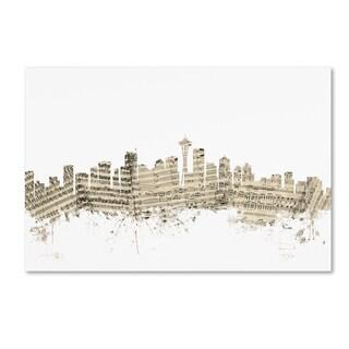 Michael Tompsett 'Seattle Washington Skyline Sheet Music II' Canvas Wall Art