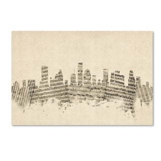 Michael Tompsett 'Houston Texas Skyline Sheet Music' Canvas Wall Art